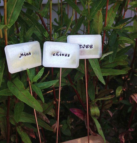 Plant Markers, 5 Personalized Herb Garden Signs, Gardening Gift, Gardening  Present, Custom