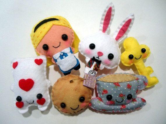 Alice In Wonderland Alice Felt Plush Doll In A Kawaii Style