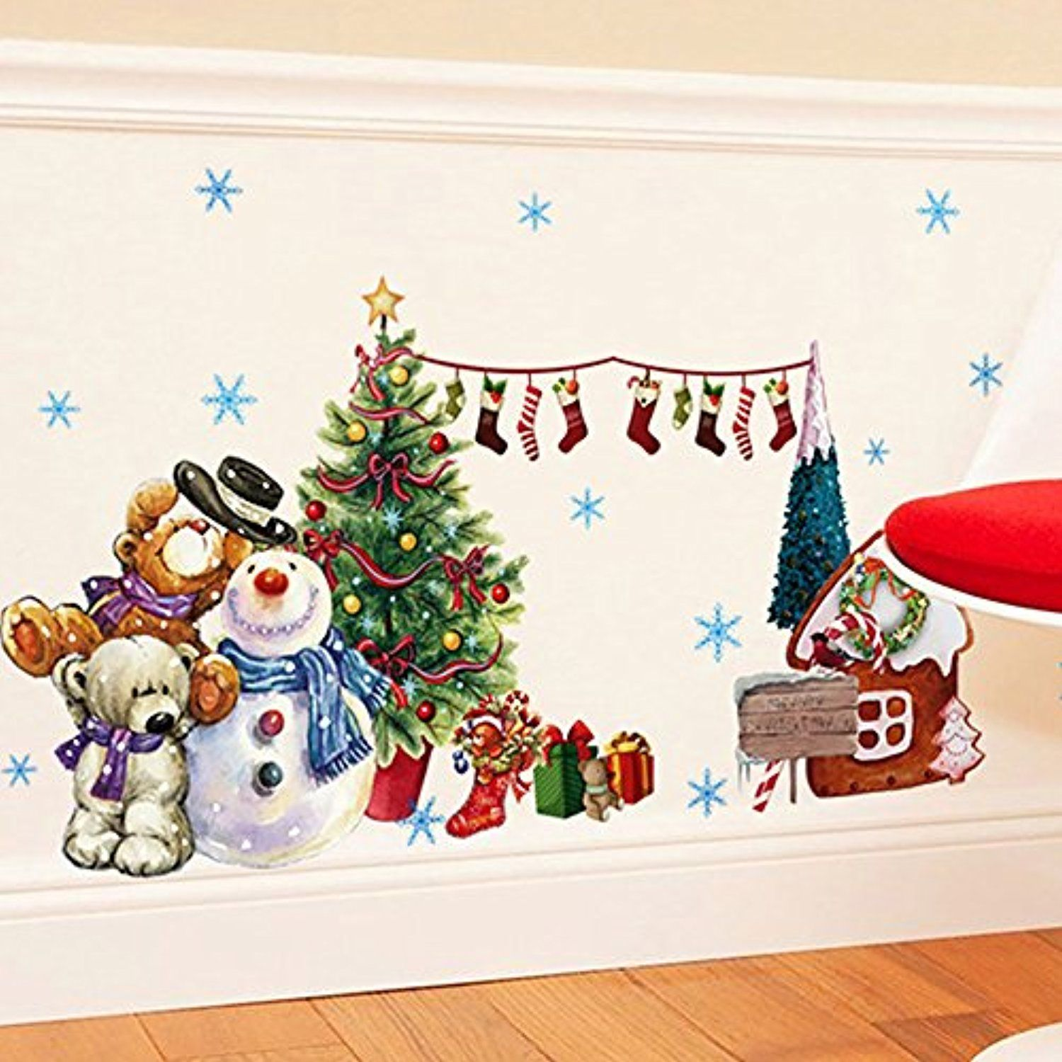 Christmas Wall Decals Removable.Merry Christmas Wall Sticker Santa Snowman Removable Vinyl