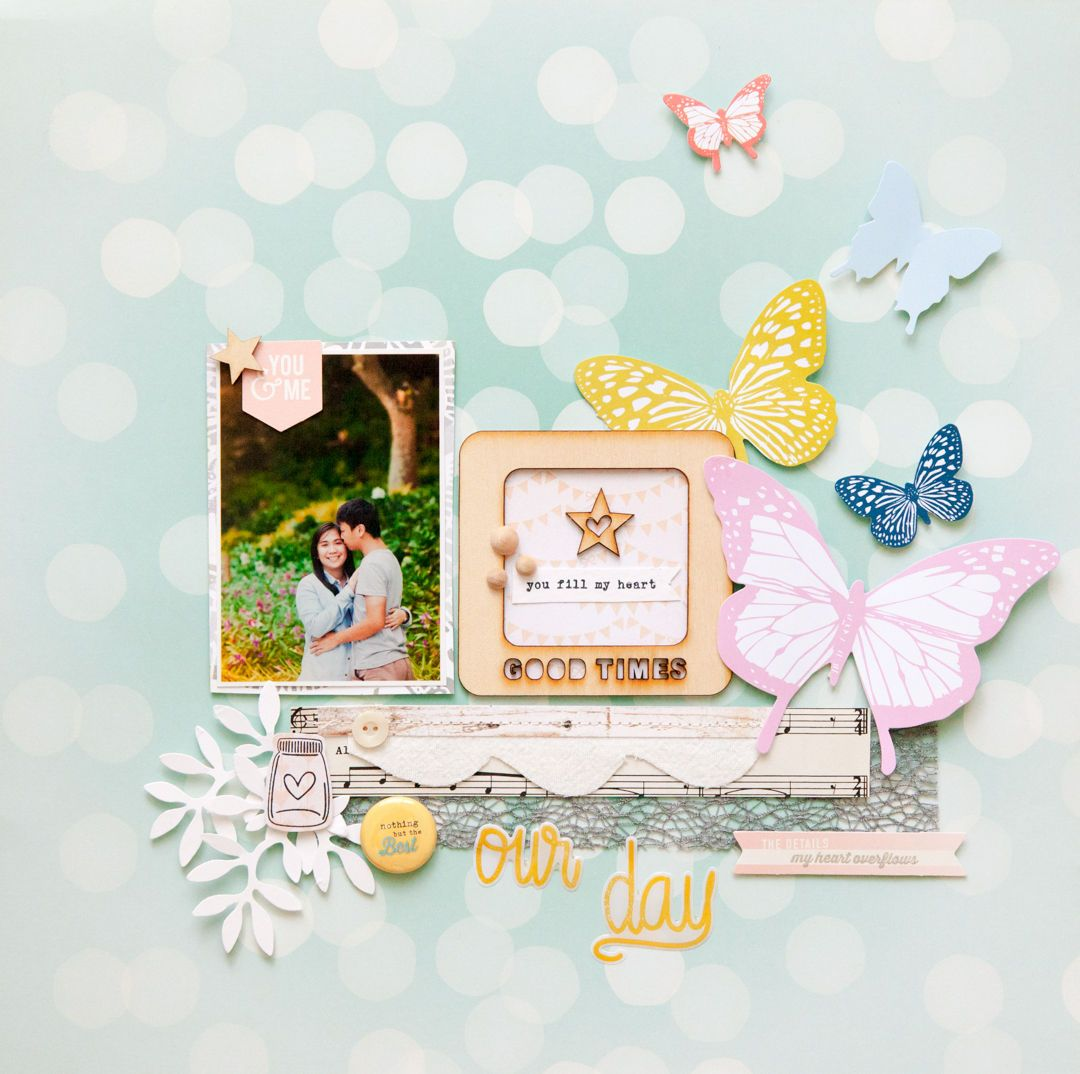 Love the natural flow created with the butterflies.  And the framed sentiment.  Our Day by geekgalz at @Studio_Calico