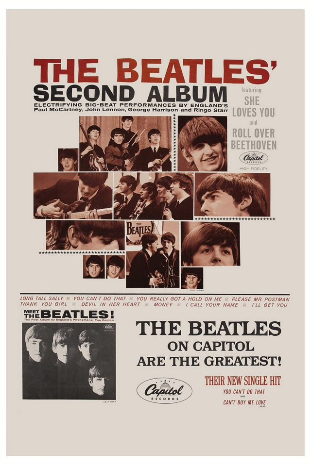 Promotional Poster For Record Stores Display Beatles