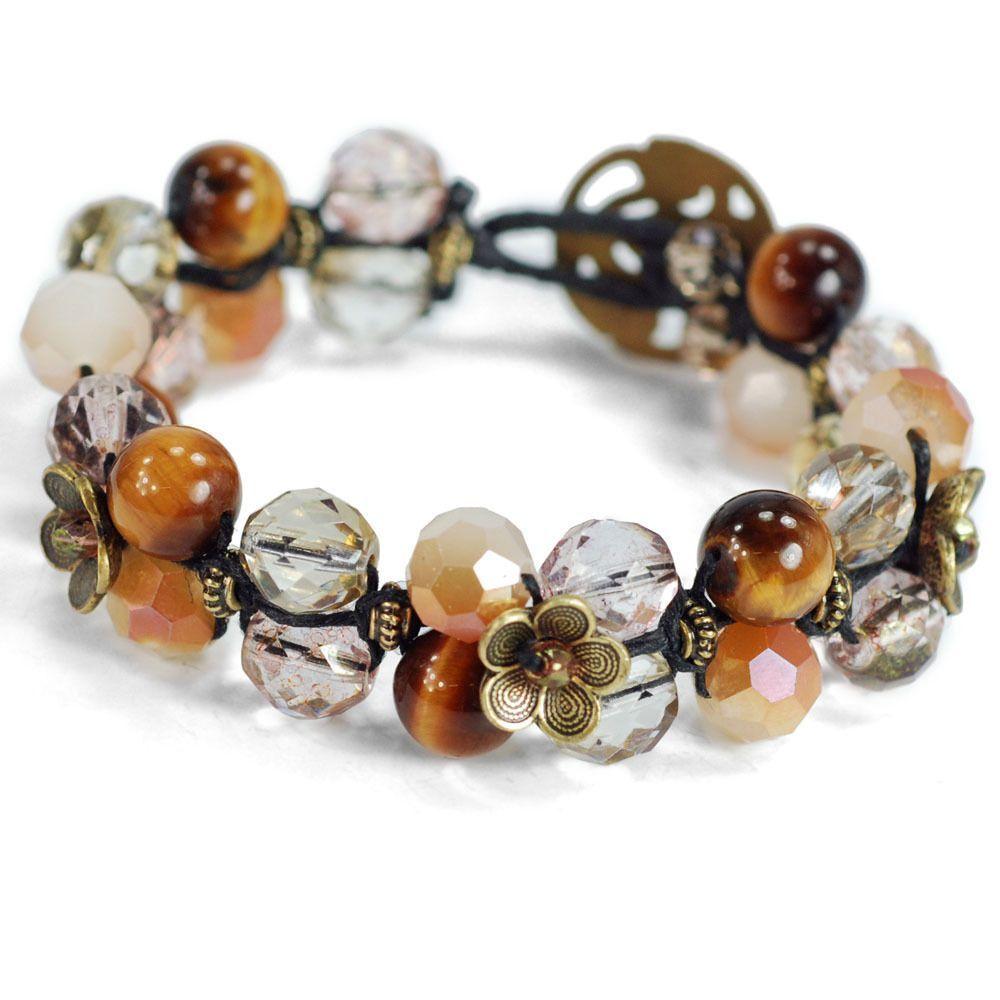 Sweet Romance Gemstone Leather Wrap Bracelet (Pearl), Women's, Size: 8 Inch, White