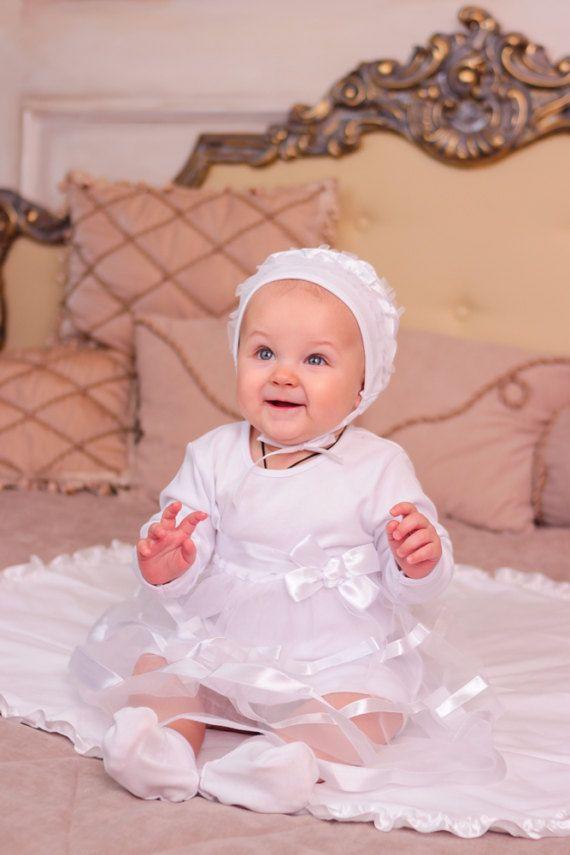 Baby girl baptism dress, baby white gown for christening, baby girl ...