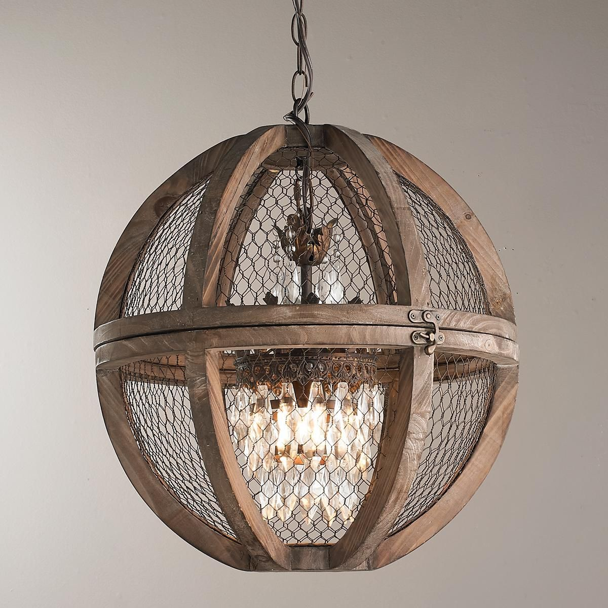 Wire Sphere Crystal Chandelier Small Modern Rustic
