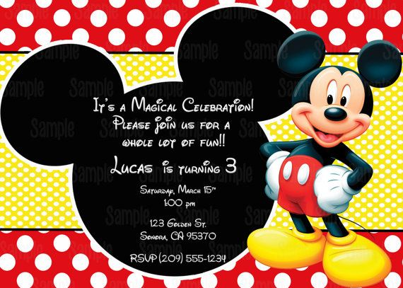 printable mickey mouse invitation by partyinnovations09 on