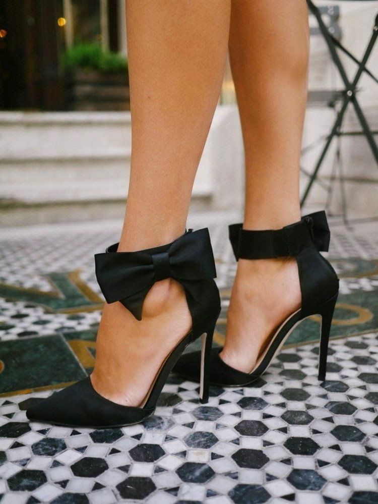 9b83c3b884d6 #BlackHeels for #Women Black Bows, Black Heels With Bow, Black Tie Shoes