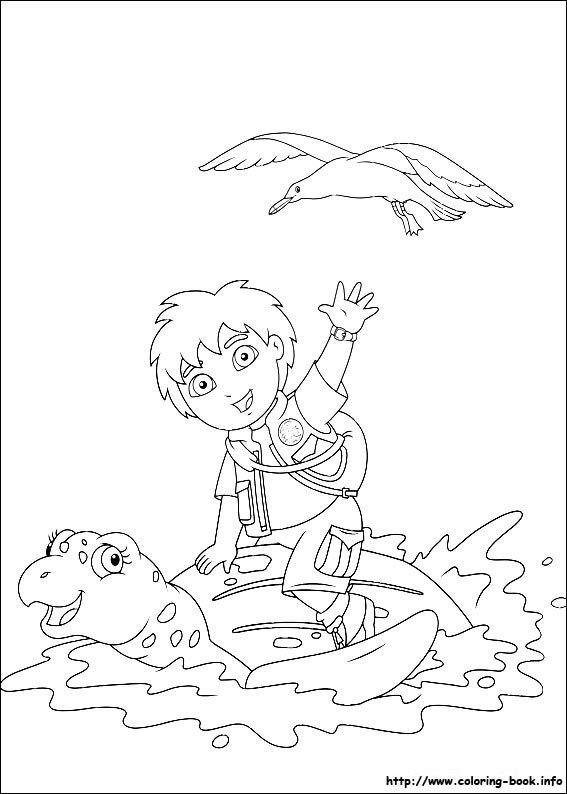 Go Diego go coloring picture Lena bday party ideas Pinterest