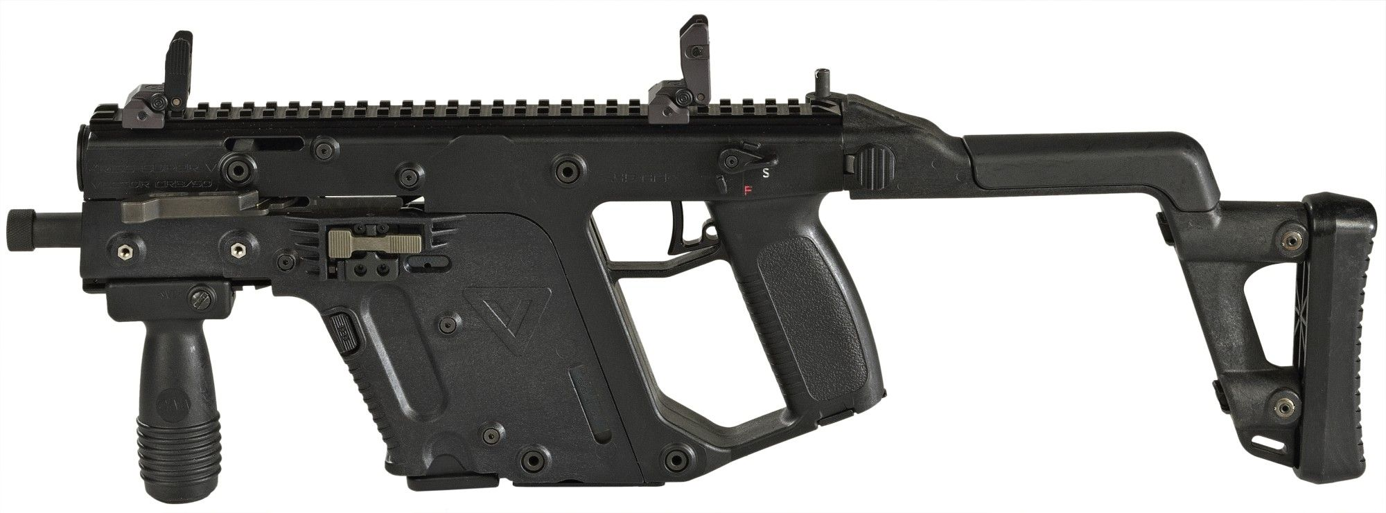 The Kriss SMG  Low recoil on 45 ACP makes this a decent battle rifle