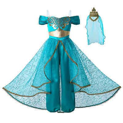2020 Girls Princess Jasmine Costumes Kids Fancy Dress UP Party Outfits Cosplay