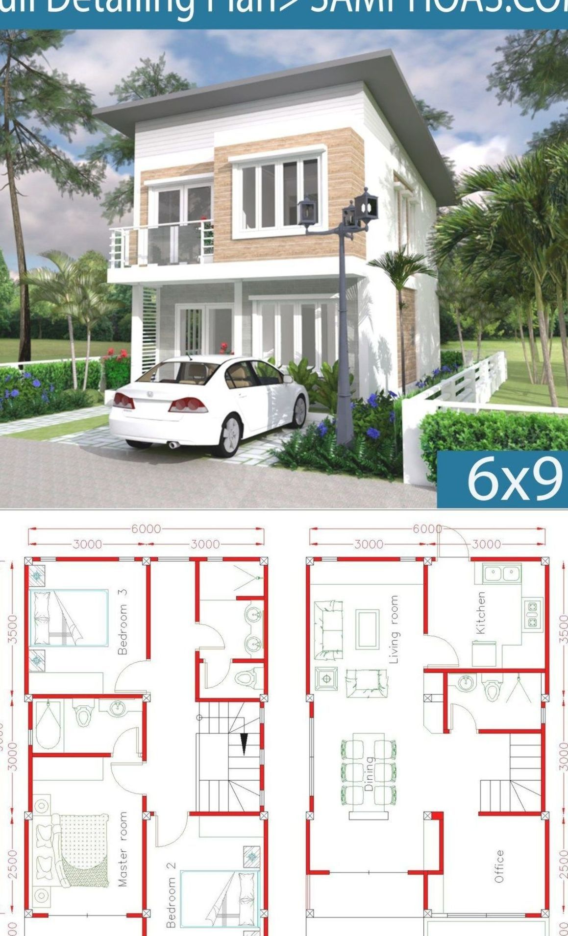 Simple Home Design Plan 6x9m with 3 Bedrooms - SamPhoas Plansearch