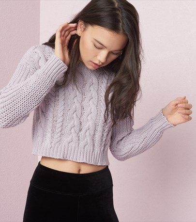 55b8808f771433 Cropped Cable Knit Sweater Garage