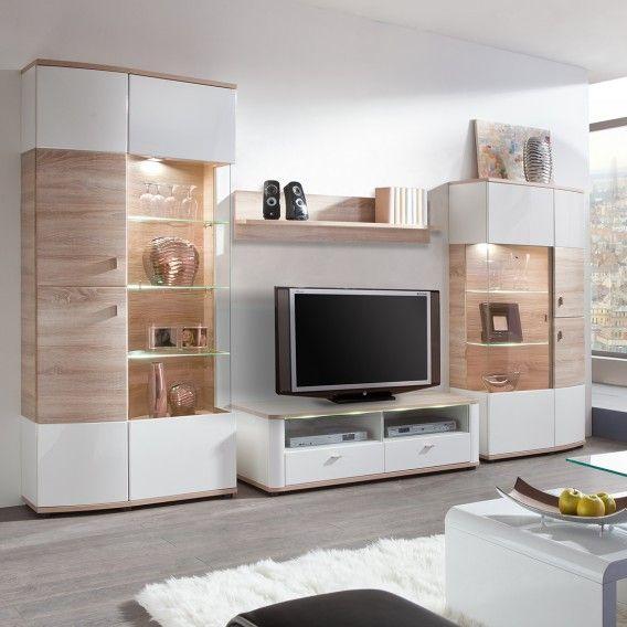 Ensemble de meubles TV Carrick (4 éléments) - Blanc brillant / Imitation chêne brut de sciage | home24.fr