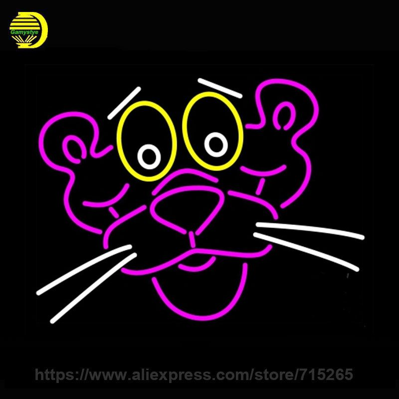 Neon Sign Pink Panther Face Neon Light Sign Publicidad Night Neon Bulb handcraft Glass Tube Lamp Commercial Light Iconic 24x31