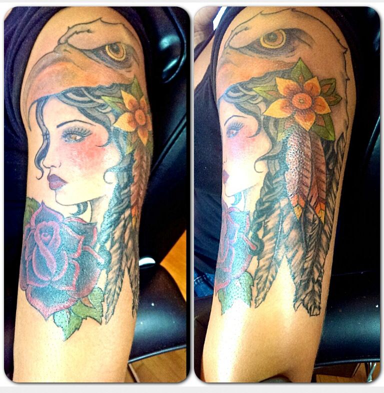 Girl With Eagle Headdress Tattoo By Audrey Mello Tattoos