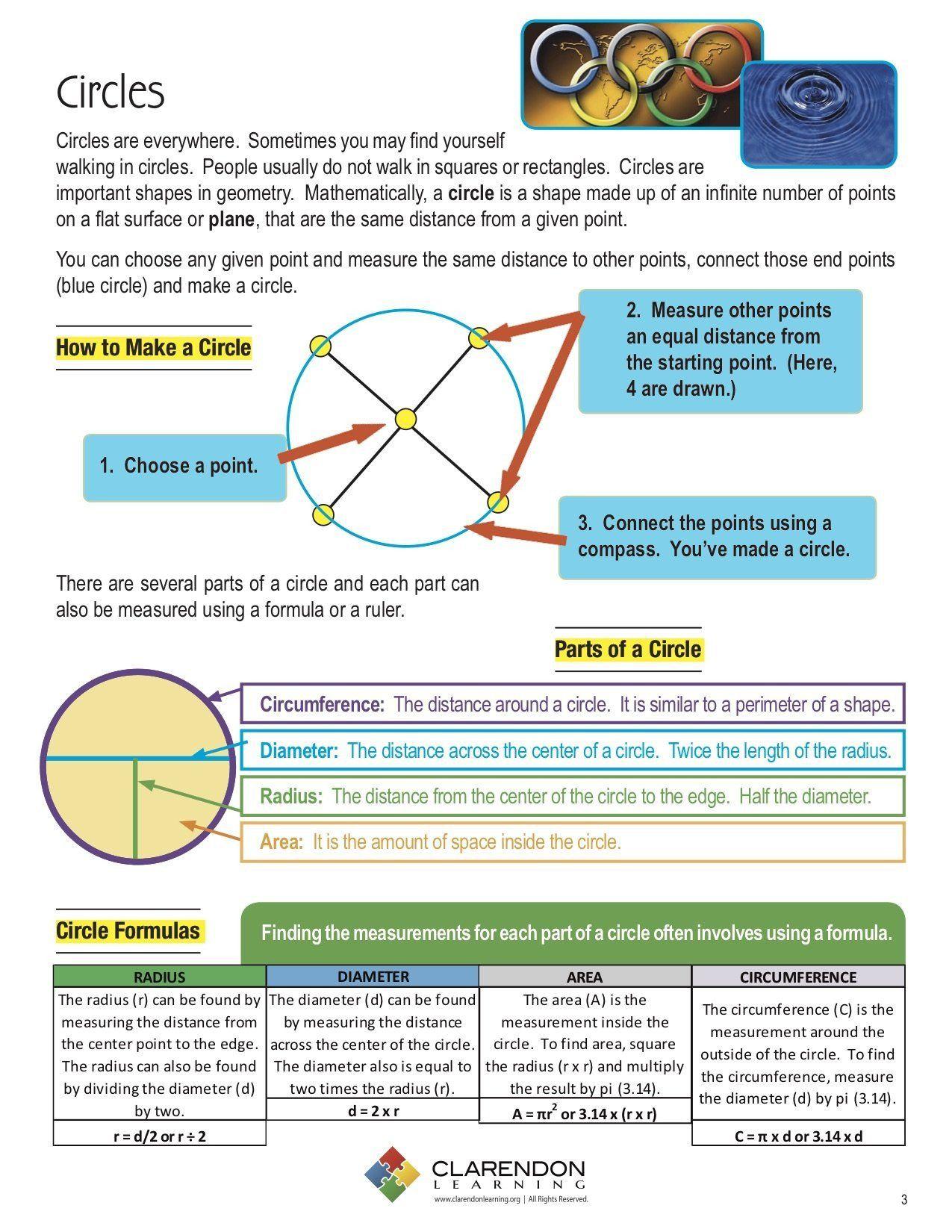 Parts Of A Circle Worksheet Radius A Circle Worksheet In