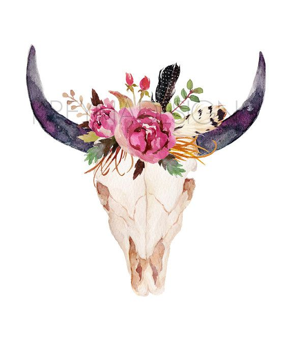 Flower crown pinterest. Cow skull printable wall