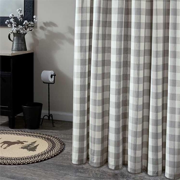 Shower Curtain Dove Gray Off White Buffalo Check Fabric Wicklow