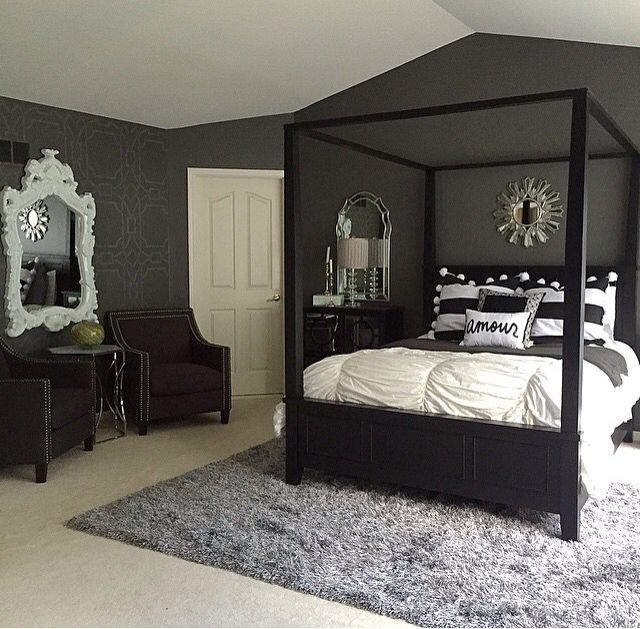 black furniture bedroom ideas, Like the chairs and mirror idea against wall Black