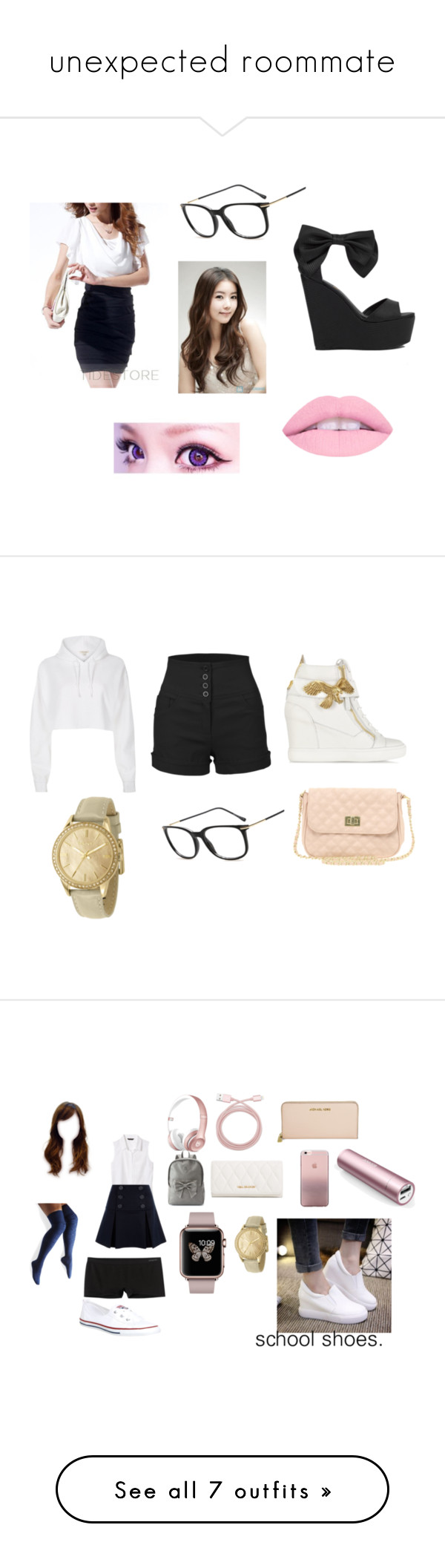 """""""unexpected roommate"""" by kpop247 ❤ liked on Polyvore featuring Privileged by J.C. Dossier, LE3NO, River Island, Giuseppe Zanotti, DKNY, ASOS, Candie's, Banana Republic, Belkin and RED Valentino"""