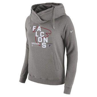 Women s Atlanta Falcons Nike Heathered Gray Super Bowl LI Bound All-Time  Performance Pullover Hoodie d03757ea67