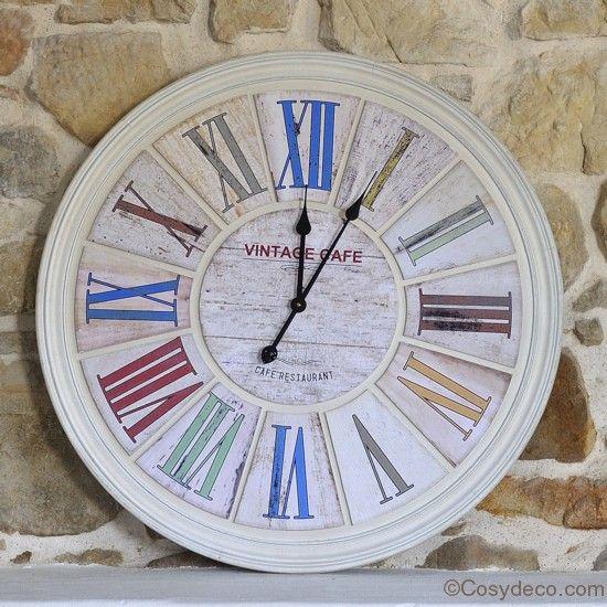 Horloge d coration cuisine bistrot chez deco decoration horloges cuisine home for Horloge murale style bistrot