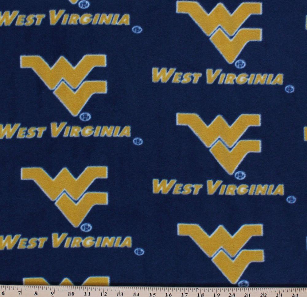University of West Virginia Mountaineers Fleece Fabric Print Blue