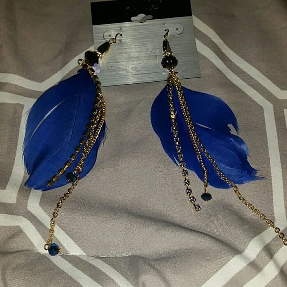 Feather Jewel Earrings Dangle and Fun Royal Blue Feathers, Gold Chain Dangles, Fish Hook Earrings, new with tags. kohl's  Jewelry Earrings