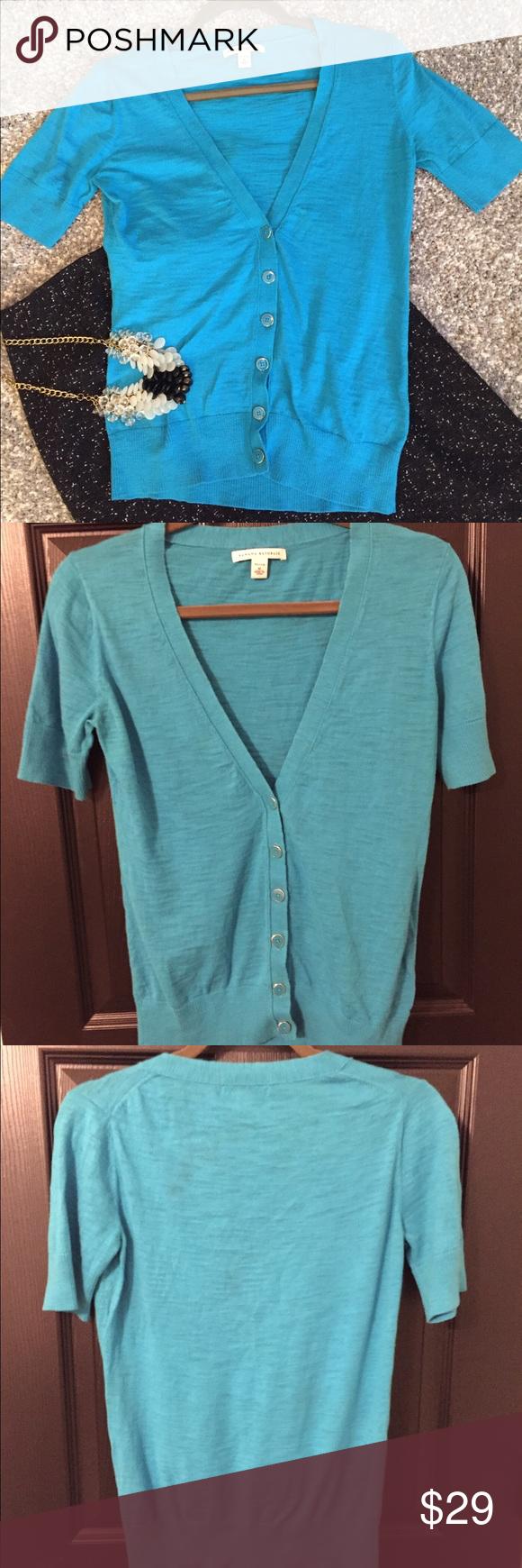 Banana Republic} Turquoise Cardigan Petite sizing // short sleeves ...