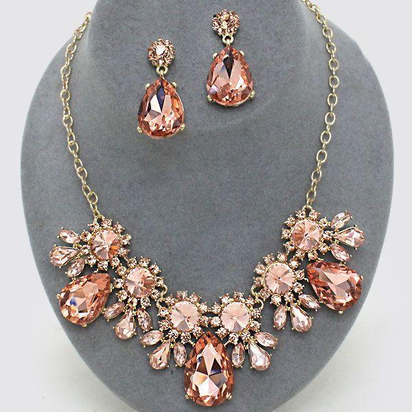 Peach Crystal Rhinestone Rose Gold Women Necklace Jewelry Earrings Set Prom