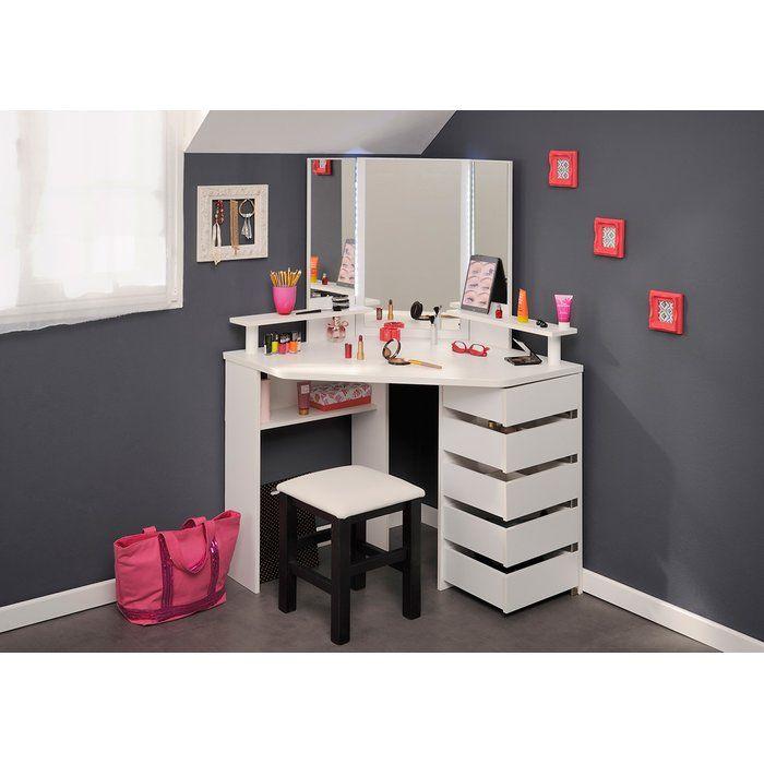 Cormier Corner Makeup Vanity With Mirror Corner Makeup Vanity Diy Vanity Mirror Vanity Mirror
