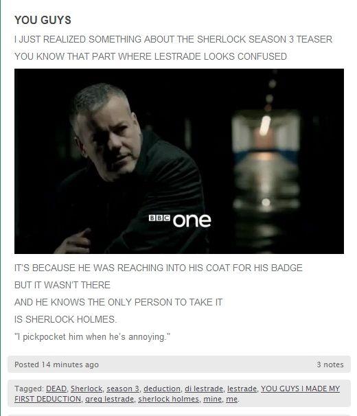 Sherlock took Lestrade's badge!!
