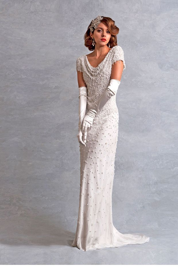 Spectacular Eliza Jane Howell Gatsby Style wedding Dress amazing beading and long gloves make this super