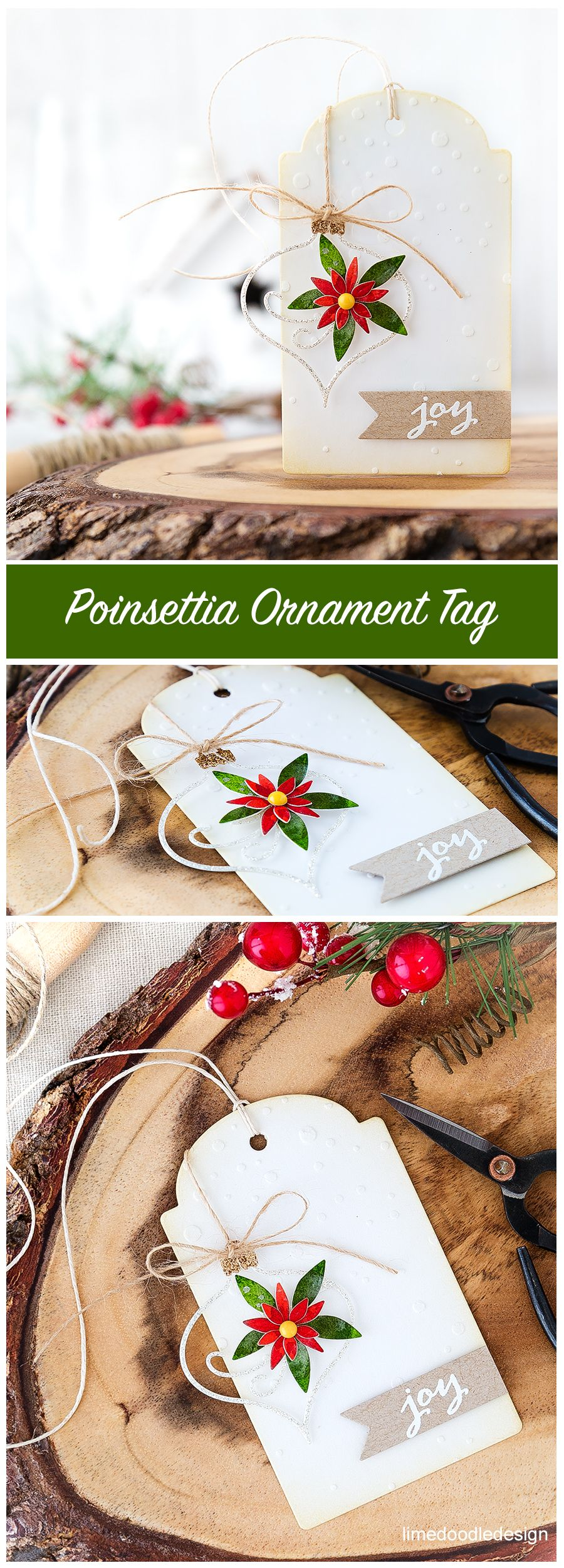 Christmas In July – Poinsettia Ornament Tag #holidaysinjuly