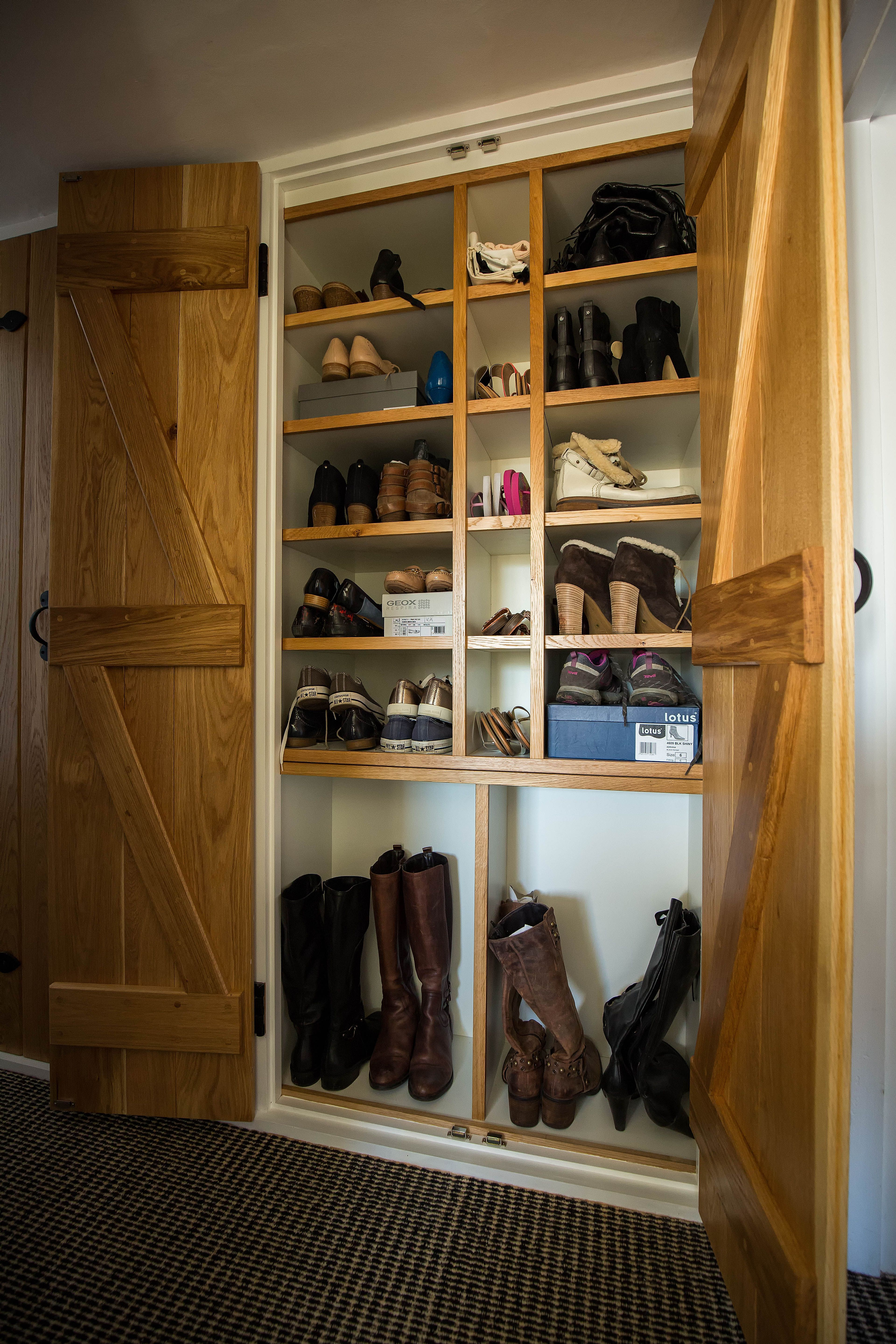 Shoe Storage Cabinet With Oak Ledged And Braced Doors Oak Shoe