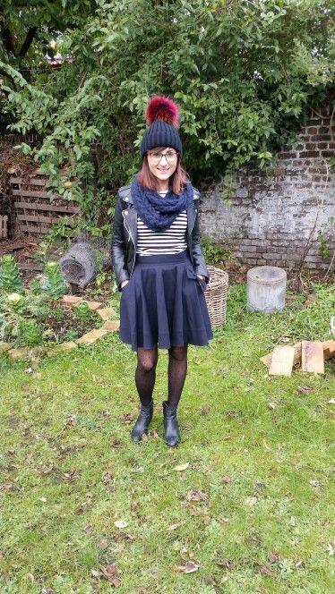 #skirtcircle #bluenavy #stripedsweater #leatherjacket