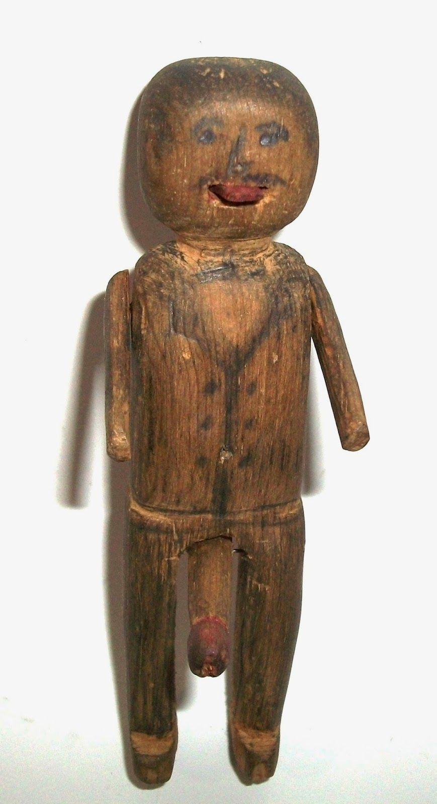 Folk Art Scupture with Man Moving Tongue, Arms and Penis.  Hand Carved 19th Century Erotic Folk Art Collection Jim Linderman Dull Tool Dim Bulb