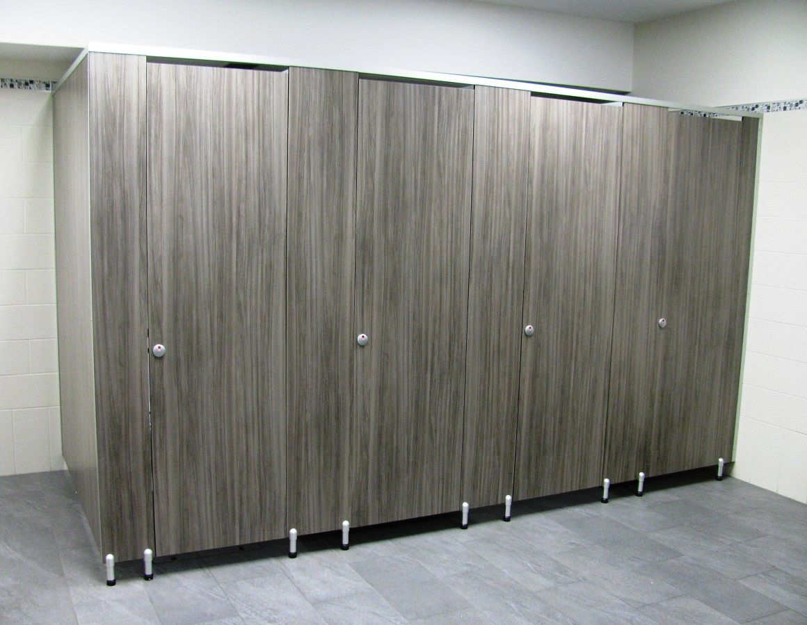 Genial Male Toilet Partitions With Special 100mm Leg In A Timber Grain Compact  Laminate   Closed Doors.