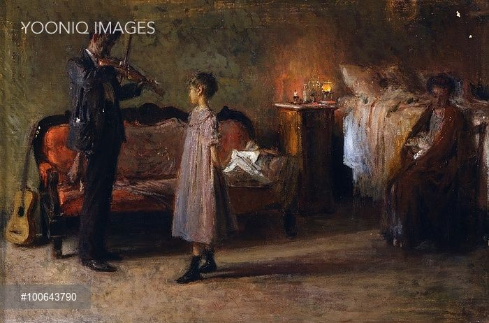 The busker's family, by Gaetano Esposito (1858-1911), oil on canvas, 38x56 cm.