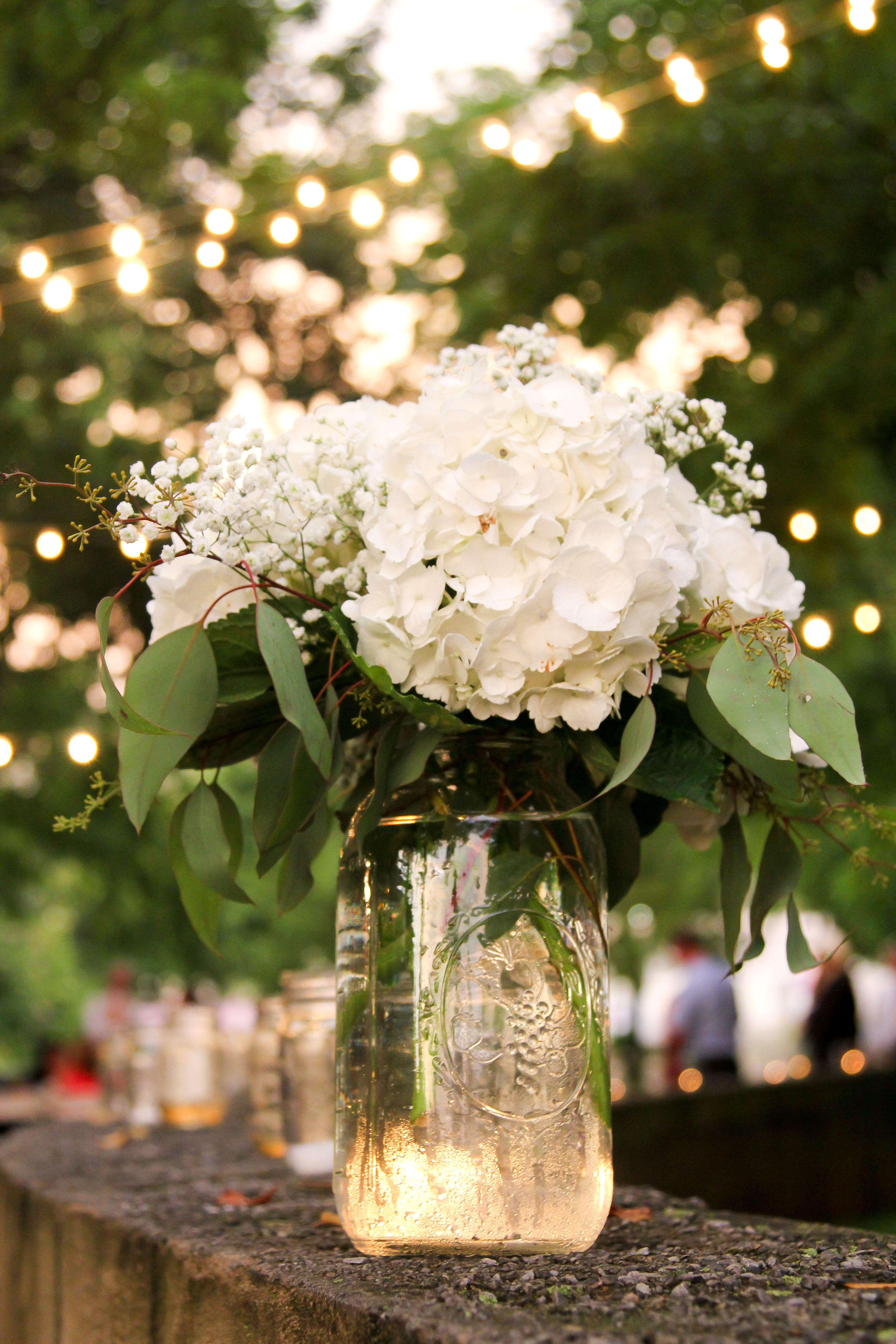 Simple Mason Jars With White Hydrangeas Flower Centerpieces Wedding Hydrangeas Wedding White Wedding Flowers Centerpieces