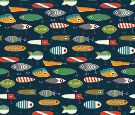 Fishing Lure Fabric By The Yard Childrens Cotton Nursery Kids Room Fish Lures Decor 3292468