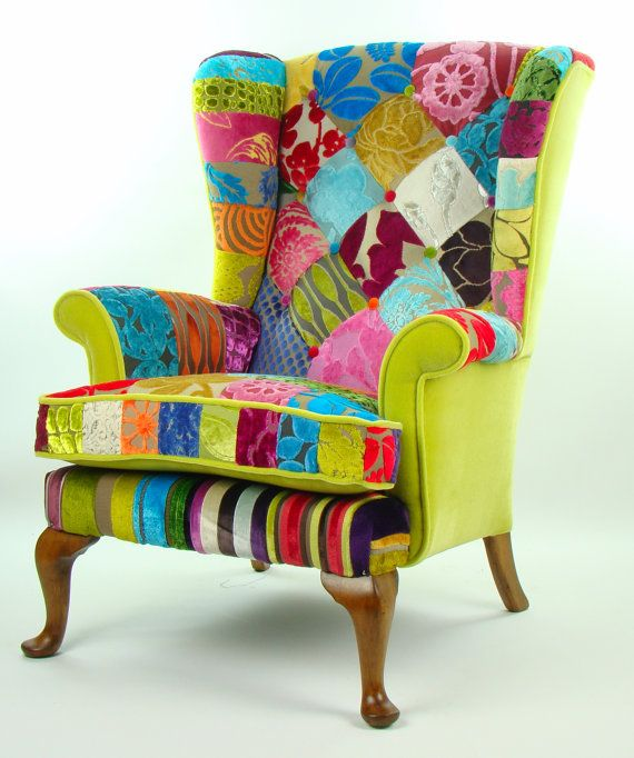 bespoke patchwork armchair in designer velvets by