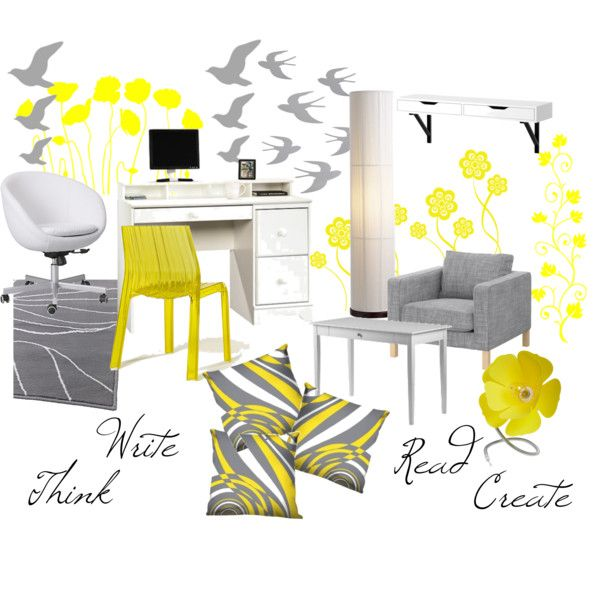 Gray And Yellow Office Created By Alexisanne On Polyvore