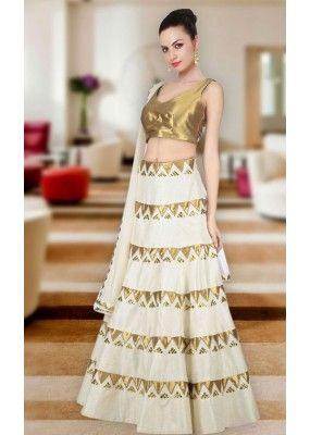 8836c1ad11 Navratri Special White & Gold Raw Silk Lehenga Choli - WA0240 ...