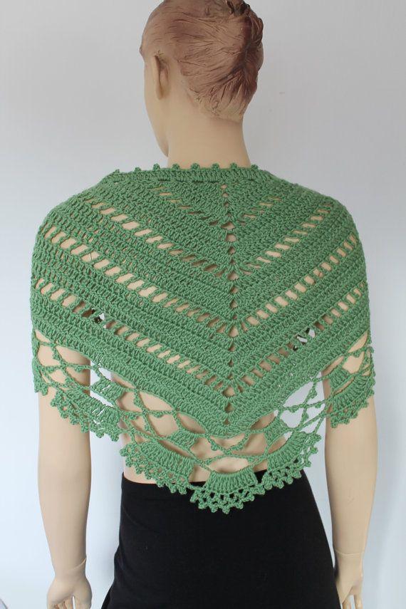 Green Triangle Lace Crochet Scarf Shawl - Chunky Cowl - Neck Warmer ...