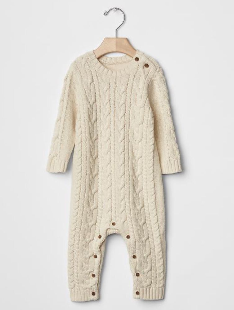 e8a7804969496 GAP Baby Boy Size 3-6 Months Beige / Ivory Cable Knit One-Piece Sweater  Bodysuit #babyGap