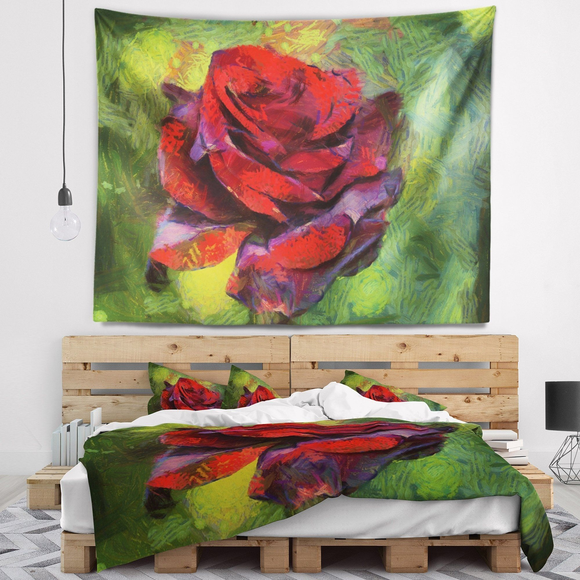 Designart Red Rose Illustration On Green Floral Wall Tapestry