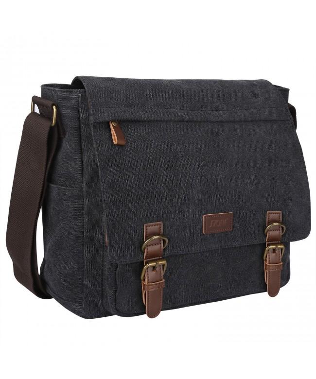 Photo of Vintage Canvas Messenger Bag School Shoulder Bag for 13.3-15inch Laptop Business Briefcase – Dark Gray – CT12N4YI85R