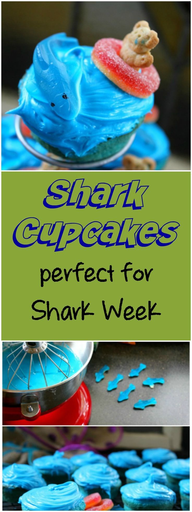 Shark Cupcakes Perfect for Shark Week - House of Faucis #sharkweekfood
