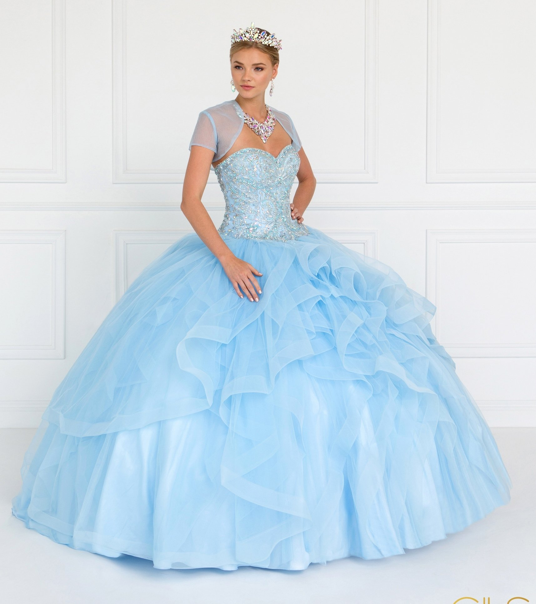 Strapless Ruffled Ball Gown With Bolero Jacket By