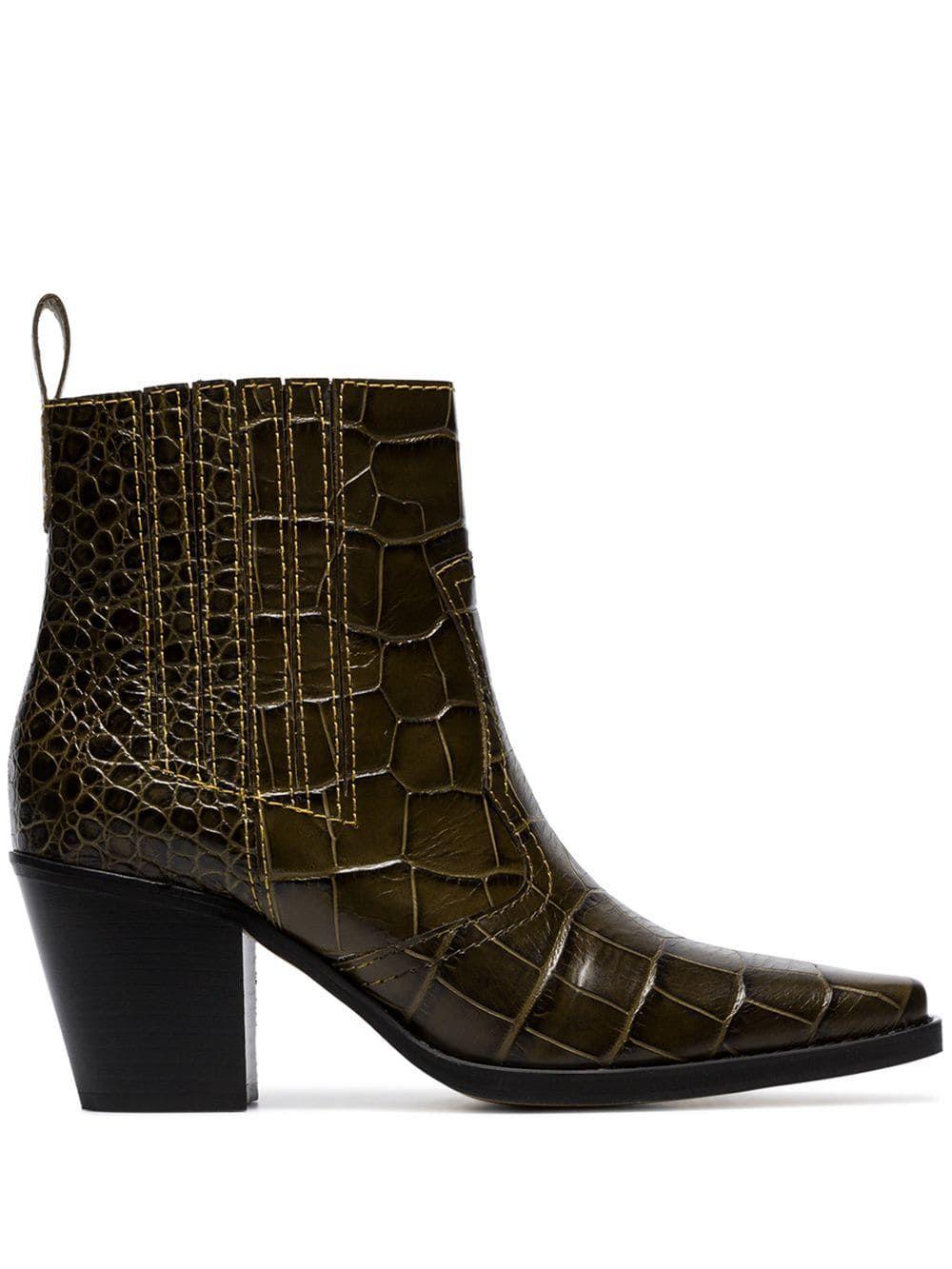 8584e1c19f7d5 Ganni brown Callie 70 crocodile-effect leather ankle boots Ganni Brown  Callie 70 crocodile-
